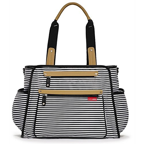 Skip Hop Diaper Bag Tote With Matching Changing Pad, Grand Central, Black & White Stripe - Grande Insulated Bag