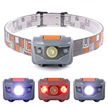 Sunix® LED Headlamp with Adjustable Headband And Angles Perfect for Running, Dog Walking, Fishing, Biking, Camping, Watching Nature - 4 Light Modes With 3x CREE R3 + 2 Red LED, Waterproof IPX-6, 3 x AAA battery (Not included)