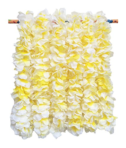LITTLE FEATHER Large White Flower Leis for Tropical Hawaiian Luau Bridal Shower Party Favors,Pack of 6Pcs]()