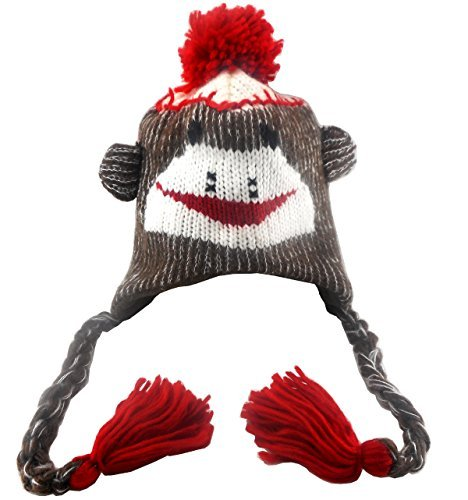 Sock Monkey Hat Baby Girl / Boy Unisex (Red/brown, One Size) (Monkey Crazy)