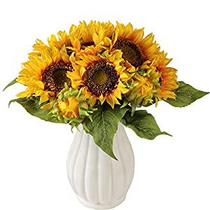 Furnily Artificial Flowers Sunflower Set of 2 Wedding Bouquets Silk Fake Sunflower Bouquets for Home Wedding Party Decoration(2Pc) 52