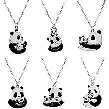 PinkSheep Mother's Love Panda Bear Pendant Necklace, 6 Pcs, Love Gifts