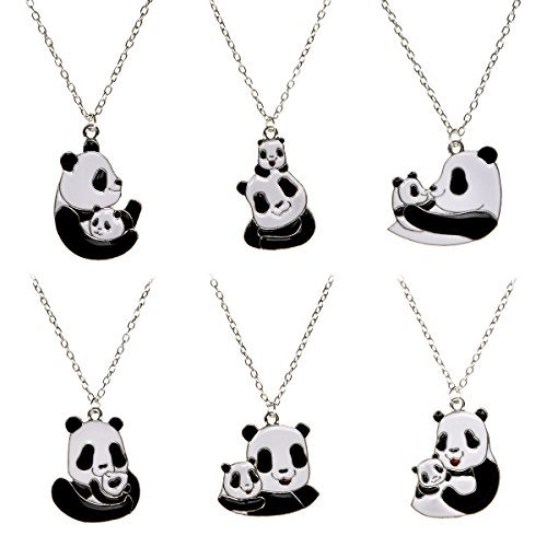 - PinkSheep Mother's Love Panda Bear Pendant Necklace, 6 PCS, Love Gifts