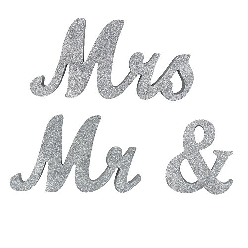 DerBlue Vintage Exquisite Silver Glitter Mr & Mrs Signs Elegnat Wooden Freestanding Letters for Wedding Sweetheart Table or Receptions Table Decorations