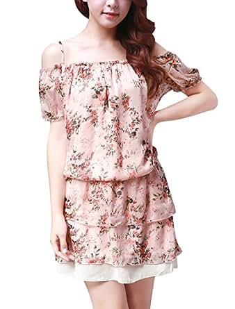 Allegra K Women Elastic Waist Tiered Chiffon Floral Mini Dress S Pink
