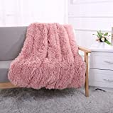 YOUSA Super Soft Shaggy Faux Fur Blanket Ultra Plush Decorative Throw Blanket 51''63'',Peachy Beige