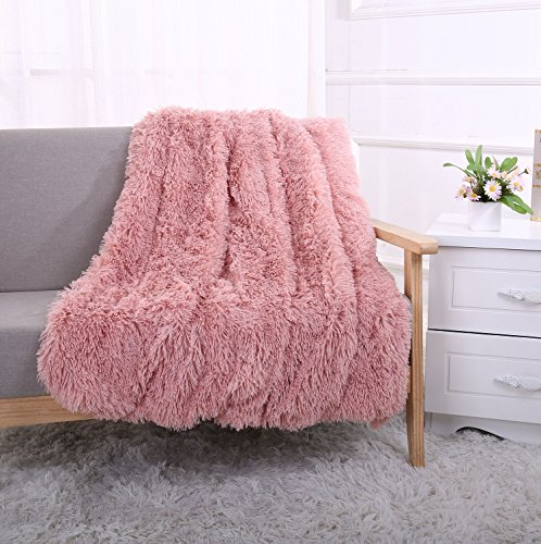 YOUSA Super Soft Shaggy Faux Fur Blanket Ultra Plush Decorative Throw Blanket 51''63'',Peachy Beige Soft Plush Blanket