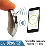 New 2018 FDA Approved Small Behind the Ear Quality 100% Digital Bluetooth Hearing Aid Sound Amplifier (PSAP) - (1 hearing aid in box) (Silver)