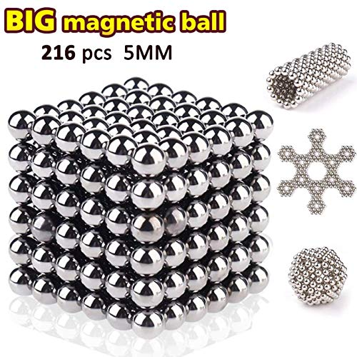 Sea Plan Magnetic Cube 216pcs 5mm Magnets Blocks Children's Puzzle Square Cube Magnets Toy Stress Relief Toys for Kids (5mm Balls)