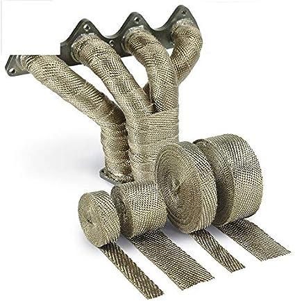 "2/"" 50 Feet Roll Fiberglass Exhaust Header Pipe Heat Wraps Tape Steel Ties Kits"