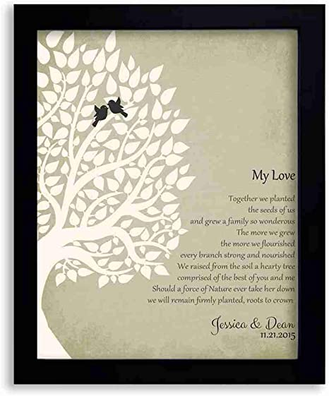 8x10 Framed Art Print Personalized Gift For Anniversary My Love Poem Our Tree 1st Paper Gift