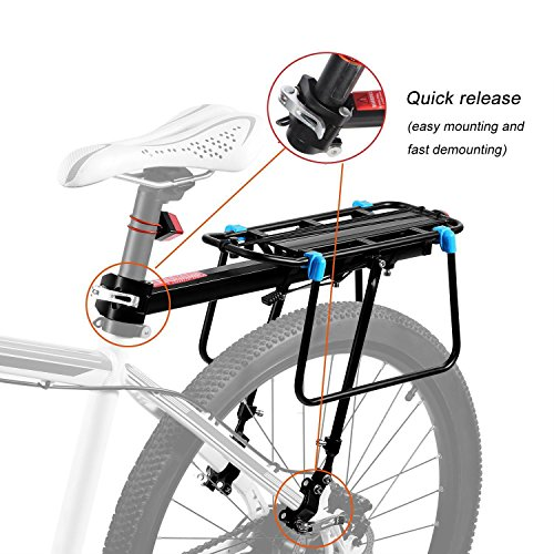 Bicycle Cargo Rack, Universal Adjustable Bike Carrier Rack Quick Release Luggage Cargo Rack Load 110 Lbs Bicycle Pannier Accessories with Reflector for 24''-29'' Frames by Calar (Image #1)