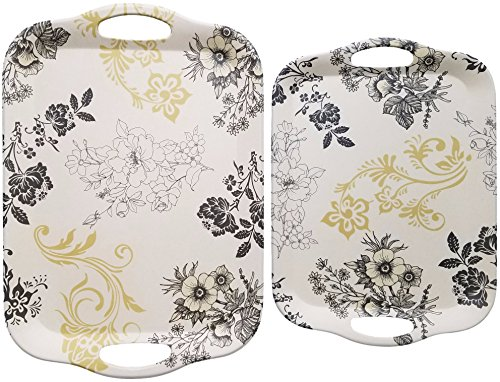 Natural Bamboo Fiber 2-Piece Serving Platter Set for Food - Cream with Black Gold Floral Print - Large 16.5 x 11.5 x .6 inches - Medium 14.25 x 10.25 x .6 inches - Breakfast Tray Set - by Clean Cut Cream Floral Fruit