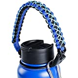 QeeLink Paracord Handle Compatible with Hydro Flask Wide Mouth Water Bottles - Paracord Carrier Strap Cord with Safety Ring & Carabiner & Compass & Fire Starter, 12oz - 64oz (Blue)