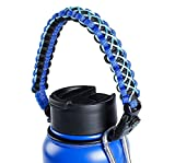 QeeLink Paracord Handle - Paracord Carrier Strap Cord with Safety Ring & Carabiner & Compass & Fire Starter & Whistle for Hydro Flask Nalgene CamelBak Wide Mouth Water Bottles
