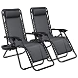 Devoko Patio Zero Gravity Chair Outdoor Free Folding Adjustable Chaise Lounge Chairs Beach Pool Side Using Reclining Deck Chair with Pillow and Tray Holder Set of 2 (Black) For Sale