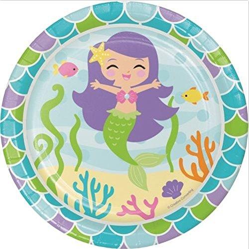 [New Creative Mermaid Sturdy Style Paper Dessert Plates 8 pcs.] (Circus Style Dance Costumes)