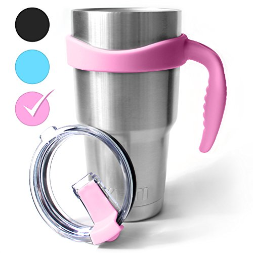 LIFEGRIP - Handle for 30 oz. Tumbler with Splash Proof and Spill Resistant Lid - Fits YETI Rambler, RTIC, Ozark Trail, Member's Mark and Other Drink Tumblers (pink)