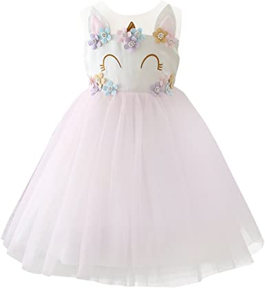 IWEMEK Unicornio Vestido de Niña Cumpleaños Disfraz de Halloween ...
