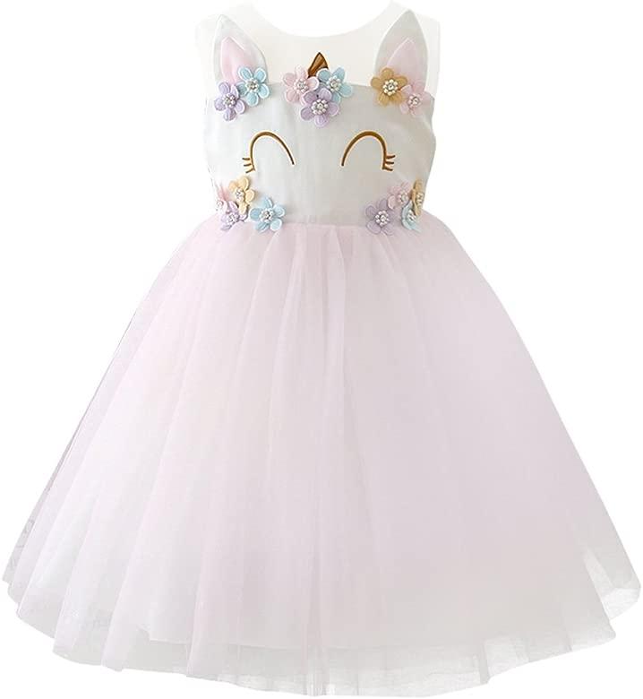 OBEEII Niña Vestido Unicornio Disfraz de Cosplay Traje Princesa Tutu Falda para Fiesta Cumpleaños Desfile Comunión Boda Flor Niñas Dama de Honor ...