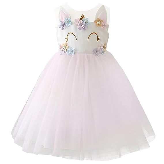 Obeeii Niña Vestido Unicornio Disfraz De Cosplay Traje Princesa Tutu Falda Para Fiesta Cumpleaños Desfile Comunión Boda Flor Niñas Dama De Honor
