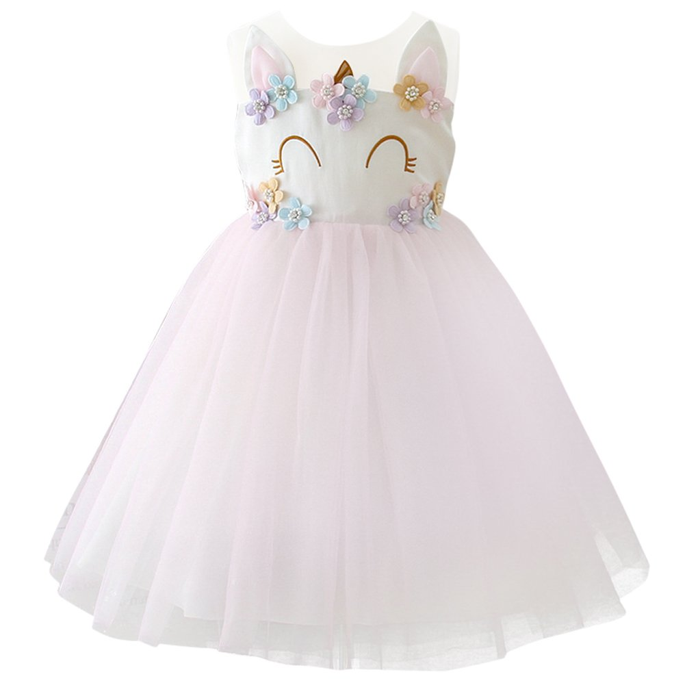 Girls Unicorn Dress up Costume Princess Dressing Gown Tutu Skirt Halloween Birthday Party Outfits for Kids Pageant Wedding Casual Photography Props Light Pink 7-8 Years