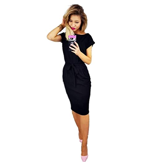 36e60cce50bf XMNDS Women's Elegant Short-Sleeved Professional Clothes Leisure Pencil  Dress with Belt at Amazon Women's Clothing store:
