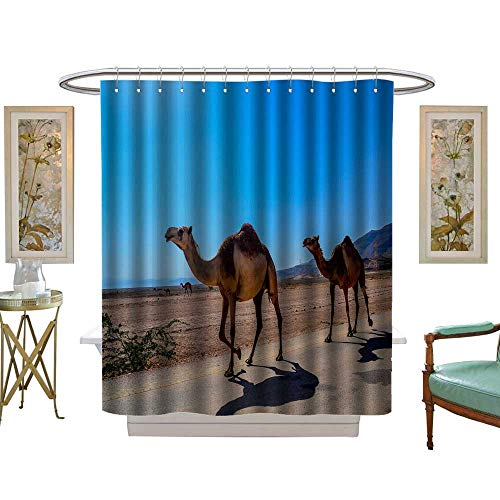 luvoluxhome Shower Curtains Fabric Extra Long Camels in The Desert Bathroom Accessories W48 x L72 ()