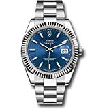 ROLEX DATEJUST 41 STEEL AND WHITE GOLD BLUE STICK DIAL OYSTER BRACELET 41MM