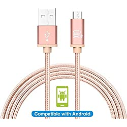 LAX Gadgets Braided Nylon Micro USB Charging and Data Sync Cable, 480 Mbps Data Transfer via USB 2.0 (10 Feet, Rose Pink)