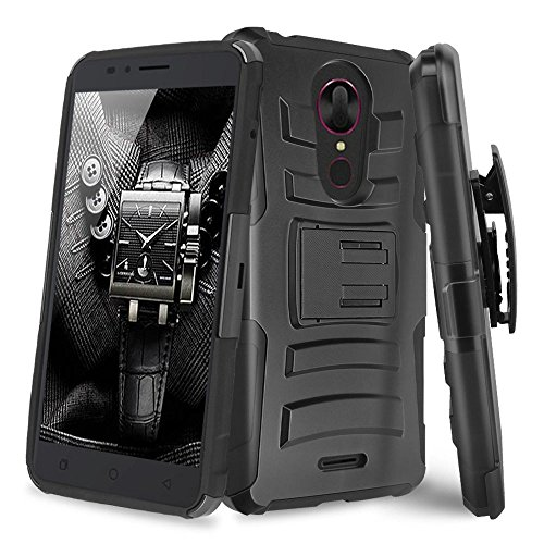 T-Mobile Revvl Plus Case, TJS with Belt Clip Holster Dual Layer Hybrid Shock Absorbing Impact Resist Rugged Kickstand Armor Drop Protection Case For T-Mobile Revvl Plus (Not for Revvl) (Black/Black) (T-mobile Clip)