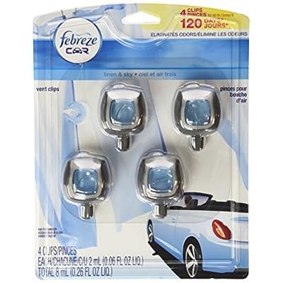 Febreze Car Vent-Clip Air Fresheners - 4 Pack (Linen & Sky)0.06 FL.OZ: Automotive