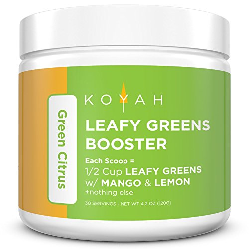 KOYAH - Organic Leafy Greens Booster Powder - Green Citrus: 1 Scoop = 1/2 Cup of Leafy Greens with Mango & Lemon (30 Servings), 100% Freeze-Dried, Whole-Food, Superfood (Pineapple Banana Orange)