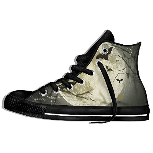 Classic High Top Sneakers Canvas Shoes Anti-Skid Halloween Moon Casual Walking For Men Women Black TU8wQSxO3