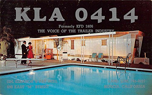 Benicia California trailer pool QSL Card KLA 0414 vintage pc Z43908 (Cards Qsl)