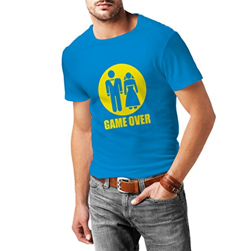 N4015 Game over funny Hochzeit T-shirt, T-Shirt Fruit of the Loom, humorvoll Briefmarken, lustiges Geschenk fr Katzenjammer (L, Light Blue T-Shirt / Yellow Image)