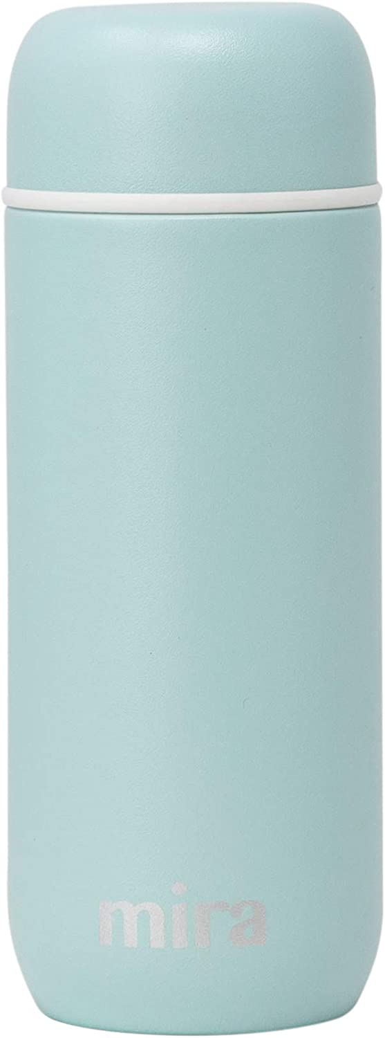 Mira 7oz Insulated Small Thermos Flask | Kids Vacuum Insulated Water Bottle | Leak Proof & Spill Proof | Pearl Blue