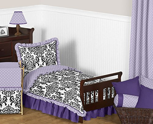 Sweet Jojo Designs Sloane Lavender Purple White Polka Dot and Damask Girls Toddler Bedding 5 Piece Set (Black And Purple Damask Bedding)