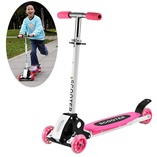 Rapesee Cute Kids Scooter, Adjustable Folding Alloy Four Wheels Foot Scooter – Best Scooter for Kids/Girls/Boys, Age 2 years Up