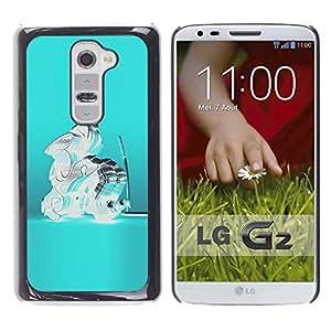 Ihec Tech Cristal Azul de cristal del trullo abstracto Samurai / Funda Case back Cover guard / for LG G2