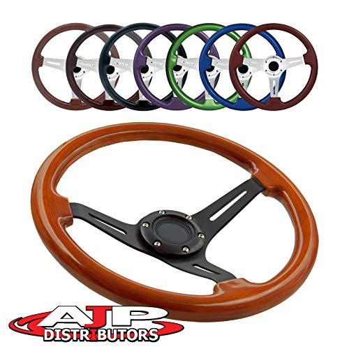 AJP Distributor Universal 345mm 6 Bolt Hole Deep Dish Streak Aluminum Wood Grain Trim Steering Wheel Blank Horn Button JDM Euro VIP Racing Track Drift Drag (Light Wood Trim Black Center)