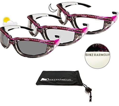 Motorcycle Day Night Transition Glasses for Women. Chrome and Pink frame with - Glasses Womens Motorcycle
