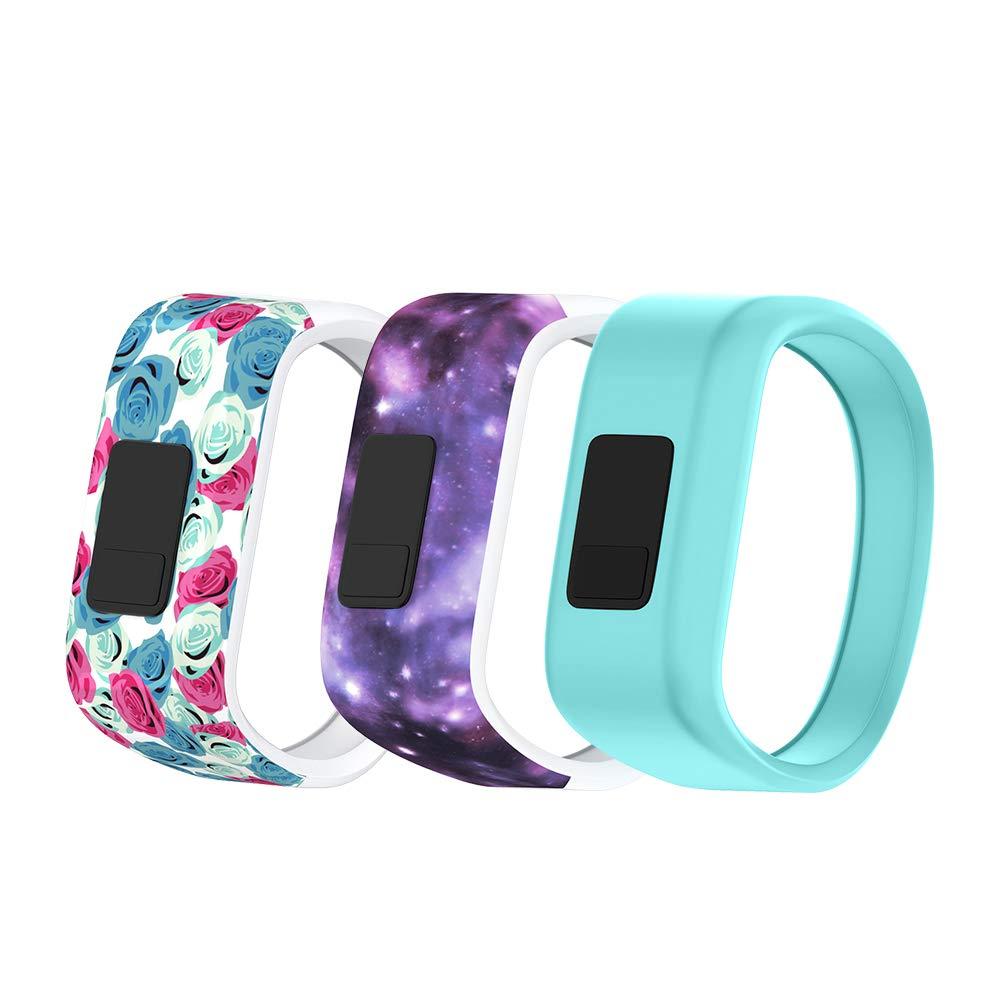NotoCity Compatible Garmin Vivofit 3 Watch Band Sport Kids Watch Strap for Garmin Vivofit JR/Vivofit JR 2/Vivofit 3(Flower/Starry/Teal,Large)