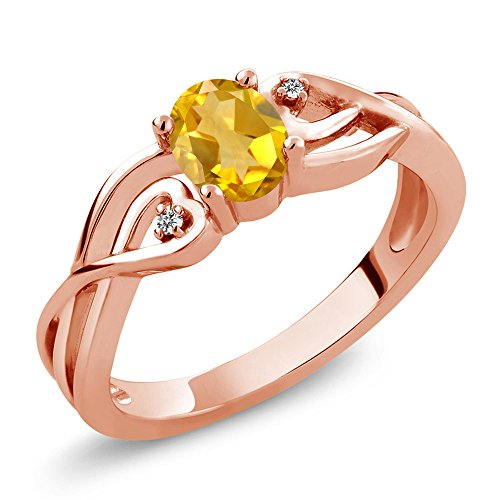 Gem Stone King 0.41 Ct Oval Yellow Citrine White Diamond 18K Rose Gold Plated Silver Ring (Size 9) ()