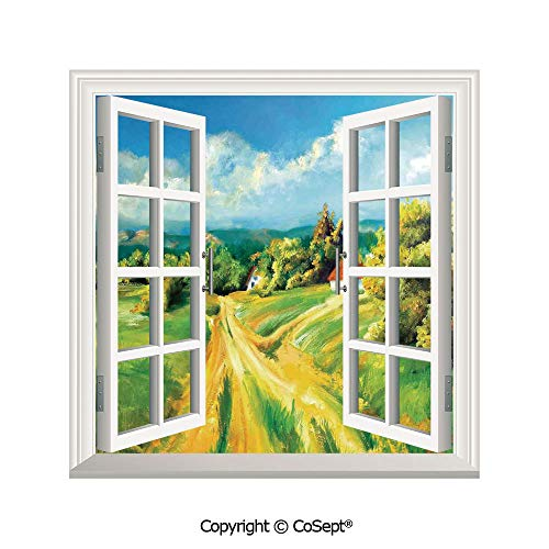 SCOXIXI Window Wall Sticker,Barren Path to Small Village Plenty of Plants and Trees Oil Painting Image,3D Window View Decal Home Decor Deco Art (26.65x20 inch)