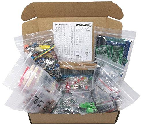 Interstellar Electronic Components Assortment Kit, Grab Bag, Resistors, Polyester Capacitors, LED, PCB, Diodes, Transistors, 1800 pcs