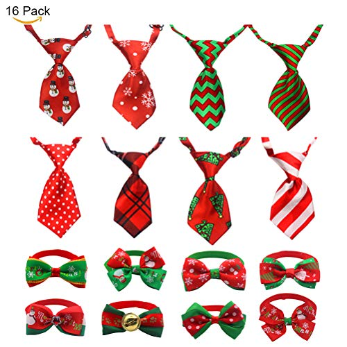 Tie Bow Accessory (JIATECCO Christmas Dog Ties 16 Pack - Adjustable Small Pet Bow Tie Neckties for Puppy Cat Festival Collar Accessories)
