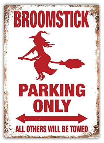(PotteLove Broomstick Parking Metal Wall Sign Plaque Art Witch Magic Halloween)