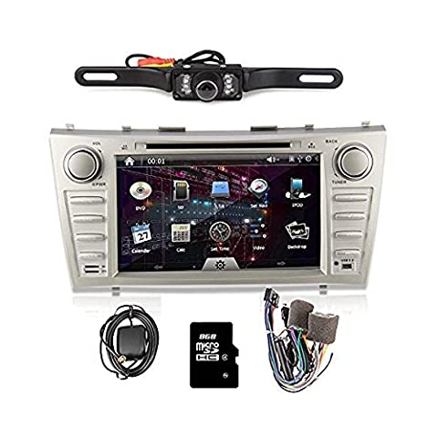 OUKURear Camera Included!!!For TOYOTA Camry(support year 2007 2008 2009 2010 2011) 8 inch Indash CAR DVD Player GPS Navigation Navi iPod Bluetooth HD Touchscreen Radio RDS FM+Free 8G GPS Map Card+Free US Map+Free Backup Rearview Parking LED (2011 Camry Backup Camera)