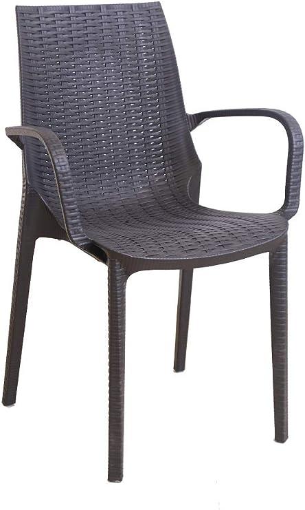 Silla Melody Resina plastica simil ratán sillon con brazos- apta hostelería - jardin - terraza - aplilables - interior exterior: Amazon.es: Jardín
